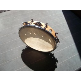 Tambourin avec peau accordable et cymbalettes 25cm