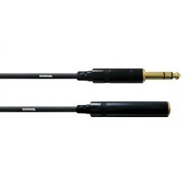 Cable Jack male stéréo 6.3 sur Jack femelle stéréo 6.3 3 mètres