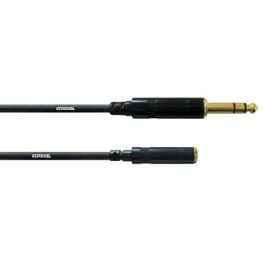 Cable Jack male stéréo 6.3 sur mini-jack femelle stéréo long. 0.15 mètre