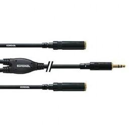 Cable raccord en Y 1 mini-jack male stéréo sur 2 mini jack-femelle stéréo