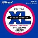 Jeu  pour basse électrique 5 cordes D'Addario EXL-170-5